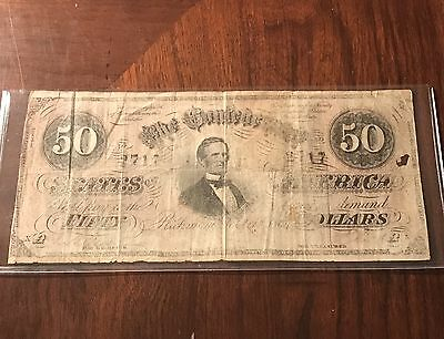 1864 $50 CONFEDERATE STATES Paper Money Note Civil War Currency CSA - 1st Series