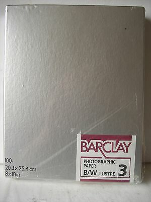 """BARCLAY Kentmere darkroom paper black white lustre 8x10"""" 100 sheets out of date"""