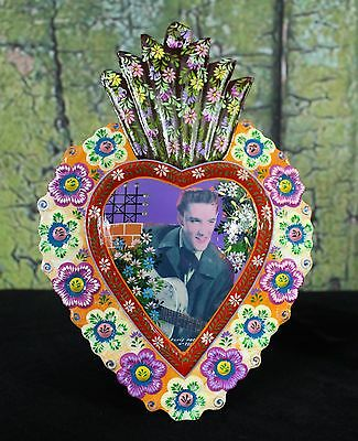 Young Elvis Presley Folk Art Peru Hand Painted Floral Border Milagro Ornament