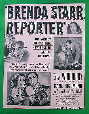 BRENDA STARR REPORTER Movie Serial Poster Advertisement Trade Ad 1945