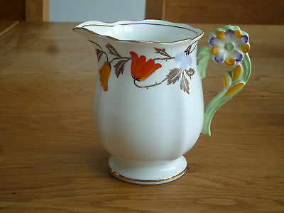 Art Deco Standard China hand-painted milk jug with flower handle