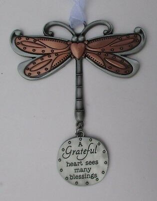w A grateful heart sees many blessings DRAGONFLY Let your Spirits Soar ORNAMENT