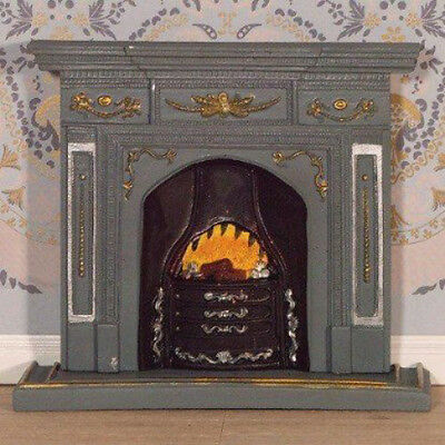 Dolls House Miniature 1:12th Scale Large Grey/Gold Fireplace
