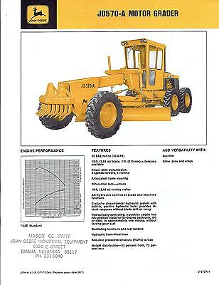 John Deere JD570-A Motor Grader Dealer Sales Specification C-11-72 Dub. ca 1972