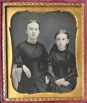 Beautiful Young Sisters Wearing Dark Dresses Mourning? 1/6 Daguerreotype D433