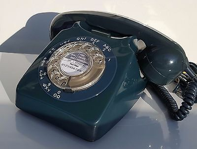Original Vintage Retro 1970's GPO 746 Rotary Dial Teal Telephone Restored