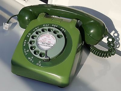 Original Vintage Retro 1960's GPO 706 Rotary Dial Green Telephone Restored