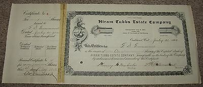 Rare 1902 HIRAM TUBBS ESTATE CO SF Calif STOCK CERTIFICATE G.D. Greenwood SIGNED