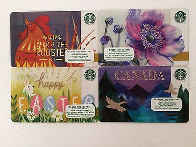 Starbucks Canada Collectible Gift Card - Lot of 4 - Spring Theme - New -No Value