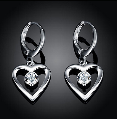 Womens Sterling Silver CZ Crystal Heart Drop Dangle Fashion Earrings #EA22