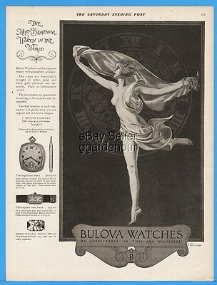 1922 Bulova Watch Co Wrist Pocket Watches Coles Phillips Naked Dancer Art WOW Ad
