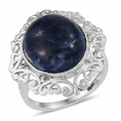 Sodalite Genuine Sodalite 10 Tcw Platinum Bonded Brass Ring Size 5 Open Filigree