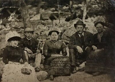 Antique Tintype Photo Group of Men and Women Smoking Outside Beach Hats Cigars