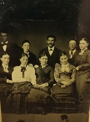 Antique Tintype Photo Large Group Men and Women