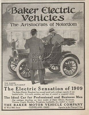1909 Baker Motor Vehicle Co Cleveland Ohio Electric Runabout Car Automobile Ad