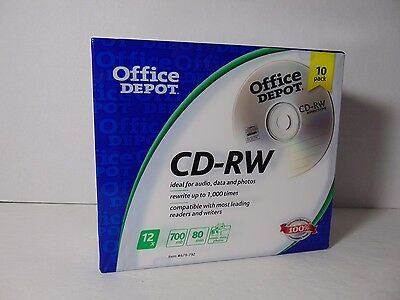 Office Depot CD-RW Blank Media 10 Pack New and Sealed