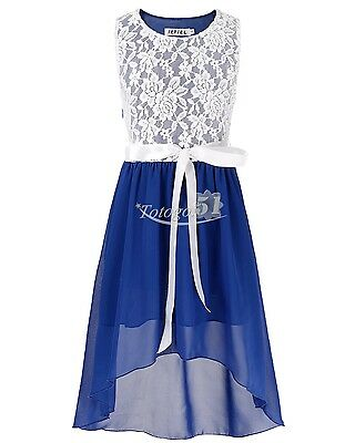 Girl Floral Lace Chiffong Tulle Dress Pageant Party Bridesmaid Wedding Gown 14