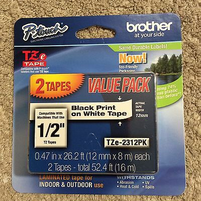 """Brother P-Touch TZe-2312PK Black Print On White Tape 1/2"""". Two Tapes. NEW."""