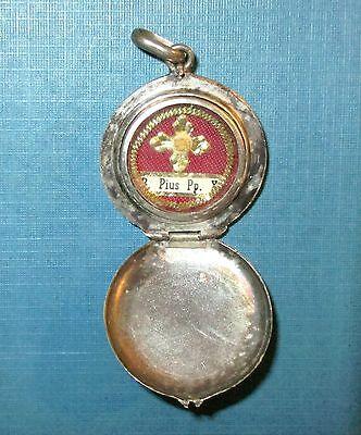Antique Blessed Pope Pius X Confessor First Class Relic Silver Locket Theca Old