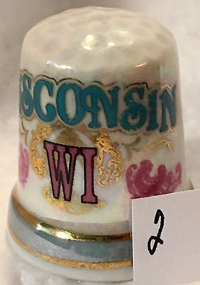 Wisconsin Ceramic Lusterware Thimble In White Blue And Pink Sewing Souvenir