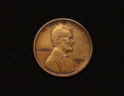 1911-S 1C BN Lincoln Cent VF/XF SEMI KEY DATE STRONG DETAIL!