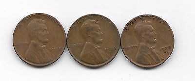 1938 1938d 1938s  lincoln wheat cent cents 3 coin lot