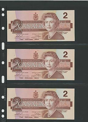 1986 $2.00 Bank of Canada (Lot of 3) Consecutive Serial Numbers - UNC