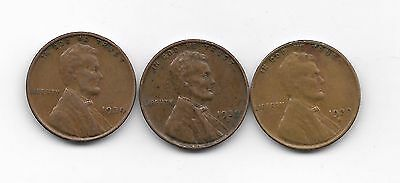 1939 1939d 1939s  lincoln wheat cent cents 3 coin lot
