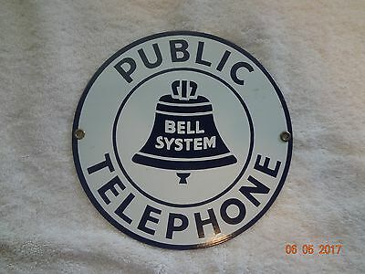 Public Telephone Bell System Porcelain Sign, Collectible