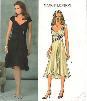 Misses Maggy London Party Evening Cocktail Wrap Gathered DRESS Sew Pattern 6-12