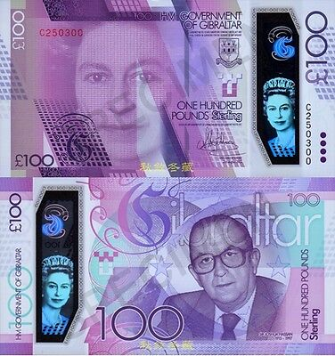 Gibraltar 100 Pounds, 2017(2015), Polymer, Replacement Note C 250300