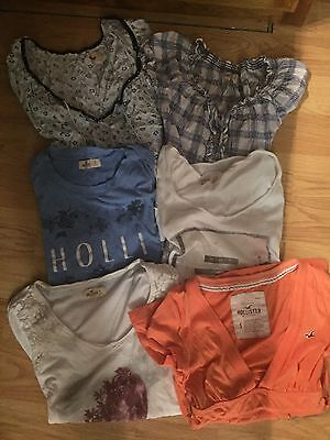 Lot of 6 Girls Hollister Shirts-Short Sleeves- Perfect 4 Summer size Small EUC