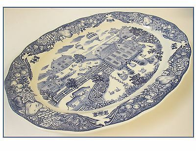 "Large 18"" Oval Blue White Sanyei-Farm Japan Platter Hot Air Balloon Fruit Edge"