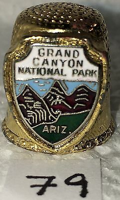 """Thimble Sewing Souvenir 3/4"""" Brass Color Grand Canyon National Park Marked Fort"""