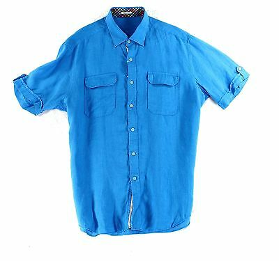 Bugatchi Uomo NEW Blue Mens Size Large L Button Down Short Sleeve Shirt $129 850