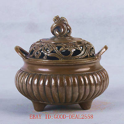 Chinese Bronze Handwork Carved Hollow out Incense Burner W XuanDe Mark QT040
