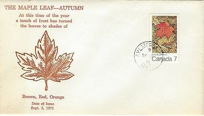 1971 Maple Leaves #537 Autumm FDC with Grover cachet gloss print unaddressed