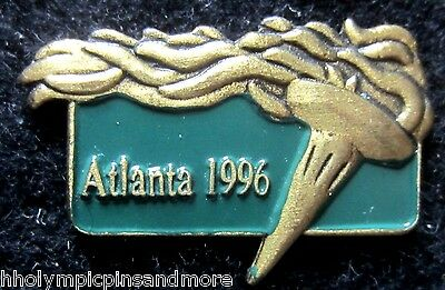 1996 Atlanta Olympic games green & gold torch pin dated