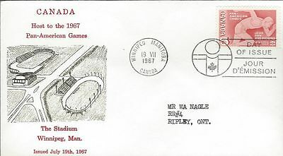 1967 #472 Pan-American Games FDC with Grover cachet gloss print