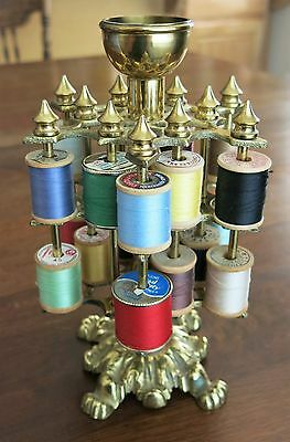 Antique Brass Thread Spool Holder Rococo Lions Feet Hearts
