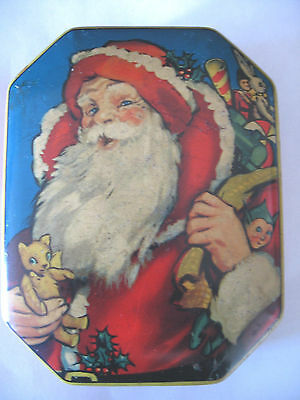 Vintage 1950's Octagon Shape Father Christmas Santa Sweets Tin ~ Collectable