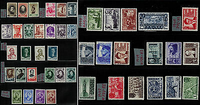 Russia 1939 -1940; MLH VF stamps - Representativ Set of 9 complete series