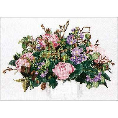 "Peonies On Aida Counted Cross Stitch Kit 11.75""X15.75"" 16 Count 499994658852"