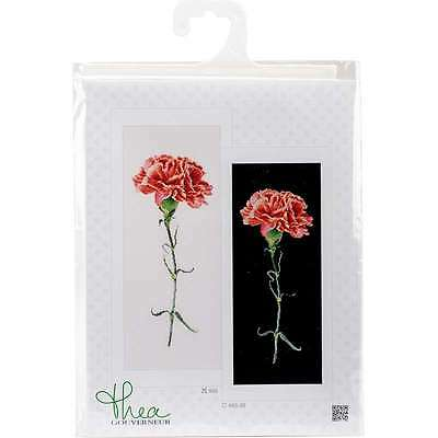 "Carnations Red On Aida Counted Cross Stitch Kit 6.5""X16.5"" 18 Cou 499994662057"