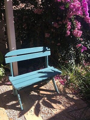 Blue Teal Timber Wooden Bench Garden Patio Outdoor Bench Chair Seat Decoration
