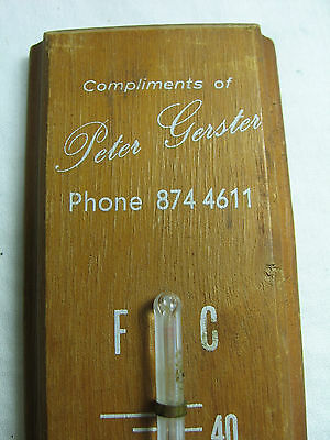 Vintage Peter Gerster Blinds & Awnings Bradford Advertising Wooden Thermometer
