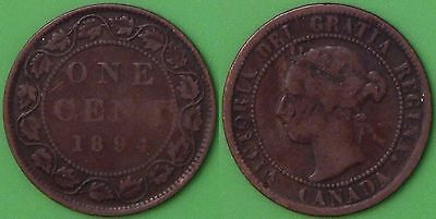 1894 Canada Large 1 Cent Graded as Very Good