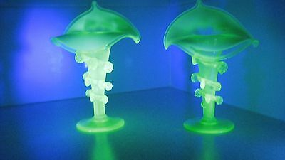 Pair Uranium Glass Jack in the Pulpit vase with rigaree