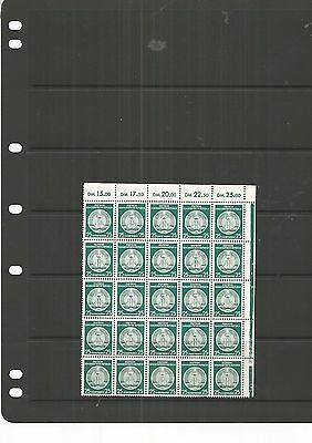 Germany 25 MNH Stamps on Part Sheet,25 Mark Green , Nice Lot,See Scan.