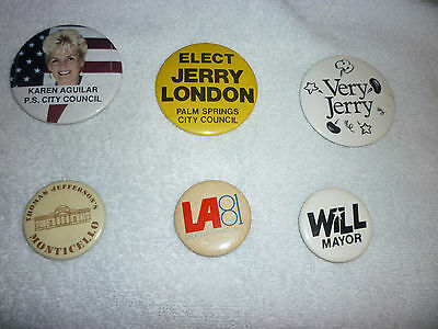 Lot Of 6 United States Campaign Pinback Karen Aguilar Jefferson
